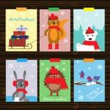 Julsamling med roliga djur stock illustrationer