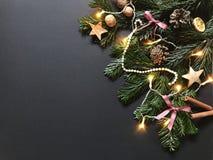 Julsammansättning med julgranfilialer och garneringar arkivbilder
