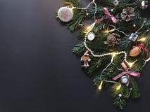 Julsammansättning med julgranfilialer och garneringar royaltyfri foto