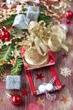 Julsammansättning med Santas sleigh Arkivbild