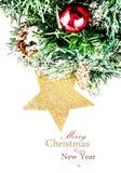 Julsammansättning med stjärnan, snö och garneringar (med e Royaltyfri Foto