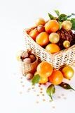 Julsammansättning med tangerin Arkivbilder