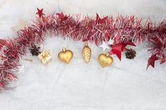 Julsammansättning på en bakgrund av is Arkivfoton