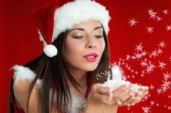 JulSanta Claus flicka royaltyfri fotografi
