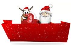 JulSanta Claus framför det röda banret och snöflingor 3d Royaltyfria Foton