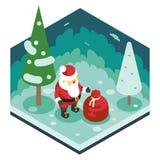 JulSanta Claus Grandfather Frost Gift Bag sänker det nya året Forest Wood Background Isometric 3d designsymbolsmallen Royaltyfri Fotografi