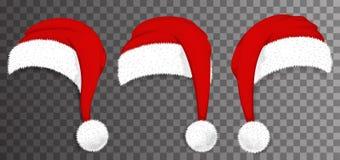 JulSanta Claus röda hattar som isoleras på genomskinlig bakgrund vektor arkivfoto