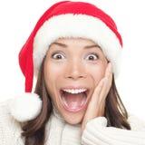 julsanta förvånad kvinna Arkivfoton
