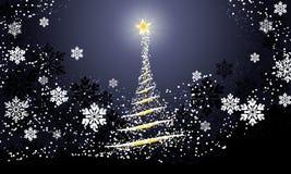 Julsemesterperiodbakgrund med oskarpa sl?ta gl?dande v?gor abstrakt julgran och sn?flingor p? svart bakgrund vektor illustrationer