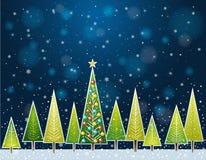Julskog i natten, vektor stock illustrationer