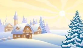 julskogen knurled morgon som snöig trails övervintrar wide Arkivbilder