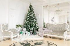 julskogen knurled morgon som snöig trails övervintrar wide klassiska lägenheter med en vit spis, dekorerat träd, ljus soffa, stor Royaltyfri Fotografi