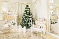 julskogen knurled morgon som snöig trails övervintrar wide klassiska lägenheter med en vit spis, dekorerat träd, ljus soffa, stor Arkivbilder
