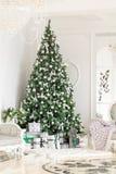 julskogen knurled morgon som snöig trails övervintrar wide klassiska lägenheter med en vit spis, dekorerat träd, ljus soffa, stor Royaltyfri Bild