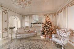 julskogen knurled morgon som snöig trails övervintrar wide klassiska lyxiga lägenheter med en vit spis, dekorerat julträd, soffa, Arkivfoton