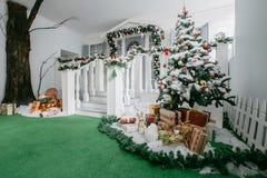 julskogen knurled morgon som snöig trails övervintrar wide klassiska lyxiga lägenheter med en vit spis, dekorerat träd, ljus soff Fotografering för Bildbyråer