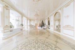 julskogen knurled morgon som snöig trails övervintrar wide lyxiga klassiska lägenheter med en vit spis arkivfoto