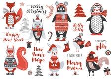 Julskogsmarkdjur gulliga Forest Bear, ekorre, kanin, uggla, fågel, tupp, pingvin, räv Nytt år och julkort Royaltyfri Bild