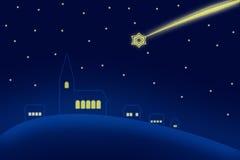 Julsky över kyrka Arkivbilder