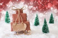 Julsläde på snö med röd bakgrund, kopieringsutrymme Royaltyfria Foton