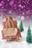 Julsläde på snö med vertikal purpurfärgad bakgrund, kopieringsutrymme Arkivfoto