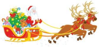 Julsleigh av Santa Claus vektor illustrationer