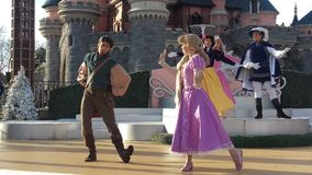 Julslottshow Disneyland Paris 2015 Arkivbild