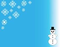 Julsnöflingor och snögubbe Vektor Illustrationer