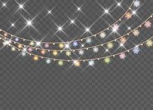 Julsnöflingor som isoleras på genomskinlig bakgrund vektor illustrationer