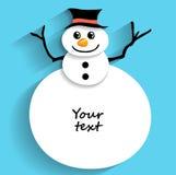 Julsnögubbe för att hälsa text Arkivfoton