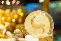 Julsnöjordklot med en hjort in inom Royaltyfria Foton