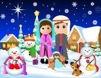JulsnöKristi födelse stock illustrationer