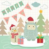 Julsnöman royaltyfri illustrationer