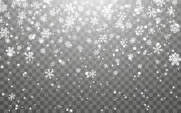 julsnow Fallande snöflingor på mörk bakgrund Genomskinlig garneringeffekt för snöflinga Modell för Xmas-snöflinga magi stock illustrationer