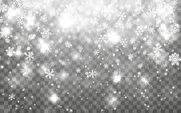 julsnow Fallande snöflingor på mörk bakgrund Genomskinlig garneringeffekt för snöflinga Modell för Xmas-snöflinga magi vektor illustrationer