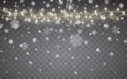 julsnow Fallande vita snöflingor på mörk bakgrund Xmas-färggirland, festliga garneringar glödande lampor för jul vektor illustrationer