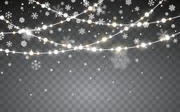 julsnow Fallande vita snöflingor på mörk bakgrund Xmas-färggirland, festliga garneringar glödande lampor för jul stock illustrationer