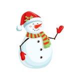 Julsnowman med scarfen Arkivbild