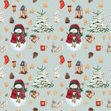 Julsockor, pepparkakakakor, julträdfilialer, snögubbe, kanel, godisrotting, lykta seamless modell vattenfärg stock illustrationer