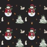 Julsockor, pepparkakakakor, julträdfilialer, snögubbe, kanel, godisrotting, lykta seamless modell vattenfärg royaltyfri illustrationer