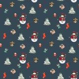 Julsockor, pepparkakakakor, julträdfilialer, snögubbe, kanel, godisrotting, lykta seamless modell vattenfärg vektor illustrationer