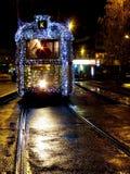 Julspårvagn i Budapest arkivbilder