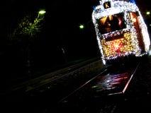 Julspårvagn i Budapest royaltyfri bild
