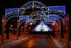 Julspringbrunn på den Minin fyrkanten Nizhny Novgorod Royaltyfri Foto