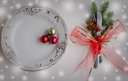 Julställeinställning, platta, knive och gaffel Fotografering för Bildbyråer
