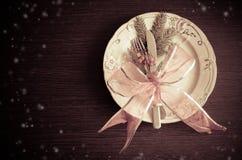 Julställeinställning, platta, knive och gaffel Royaltyfri Fotografi