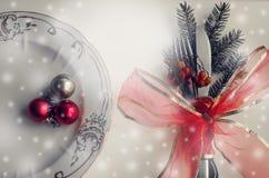 Julställeinställning, platta, knive och gaffel Royaltyfria Foton