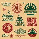Julstämplar Glad jul och etiketter för lyckligt nytt år vektor illustrationer