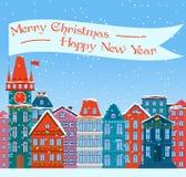 Julstadillustration Snöig gammal willage för Xmas Tecknad filmbyggnader vita röda stjärnor för abstrakt för bakgrundsjul mörk för royaltyfri illustrationer