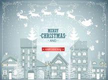 Julstadslandskap, stads- vinterbakgrund, tappningkort, snöfall Royaltyfri Bild